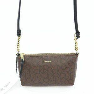 Calvin Klein Womens Hayden Crossbody Bag Brown Sig